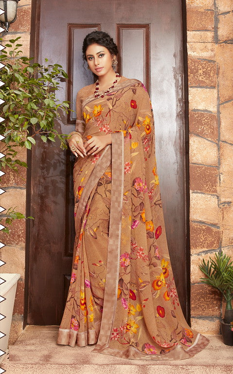 Brown Color Georgette Kitty party wear Shravya Collection   YF#11671