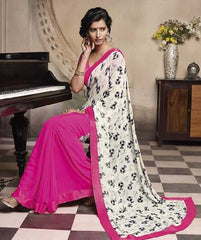 Pink and White  Colour  Georgette  Material Designer Sarees : Embroidery Collection -  YF-15025
