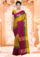 Mustard Yellow Color Blended Cotton Casual Party Sarees : Virika Collection  YF-60403
