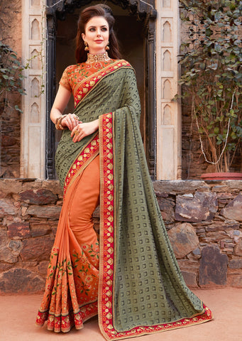 Orange Color Raw Silk Designer Festive Sarees : Ritushi Collection YF-67189
