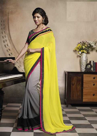 Yellow and Grey  Colour  Georgette  Material Designer Sarees : Embroidery Collection -  YF-15034