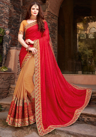 Light Coffee & Red Color Half Raw Silk & Half Wrinkle Chiffon Designer Festive Sarees : Ritushi Collection YF-67200