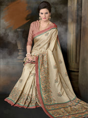 Light Coffee Color Linen Cotton Casual Wear Sarees : Starbucks Collection  YF-42822