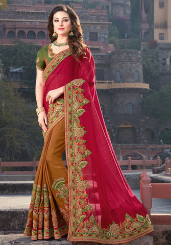 Coffee & Maroon Color Raw Silk Designer Festive Sarees : Ritushi Collection YF-67206
