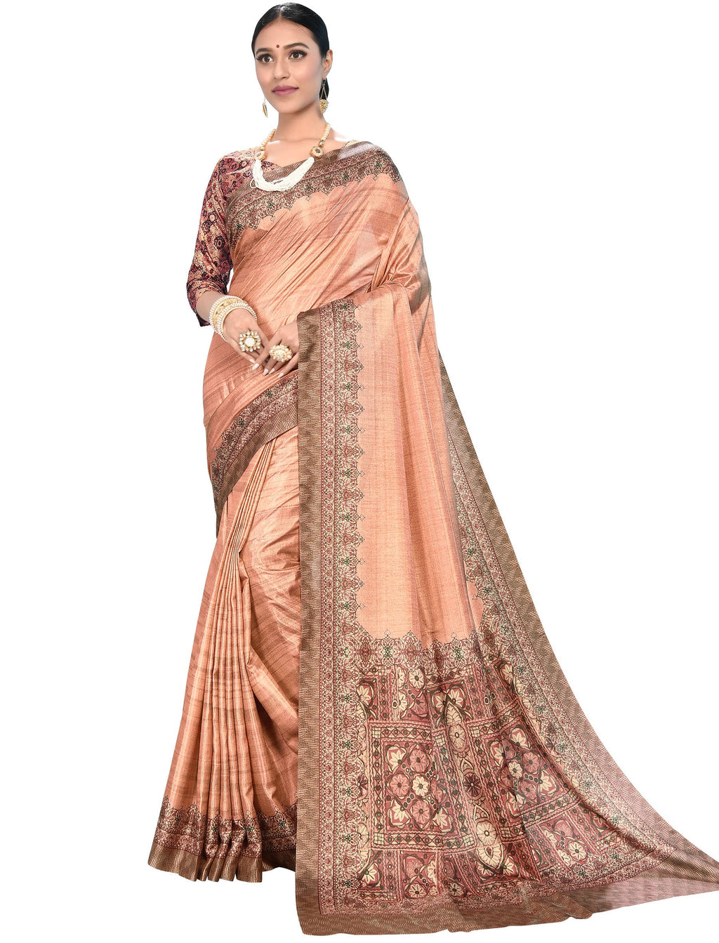 Peach Color Dola Silk  Festive Wear Digital Print Sarees NYF-7748