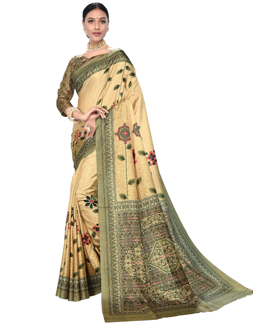 Cream Color Dola Silk  Festive Wear Digital Print Sarees NYF-7749