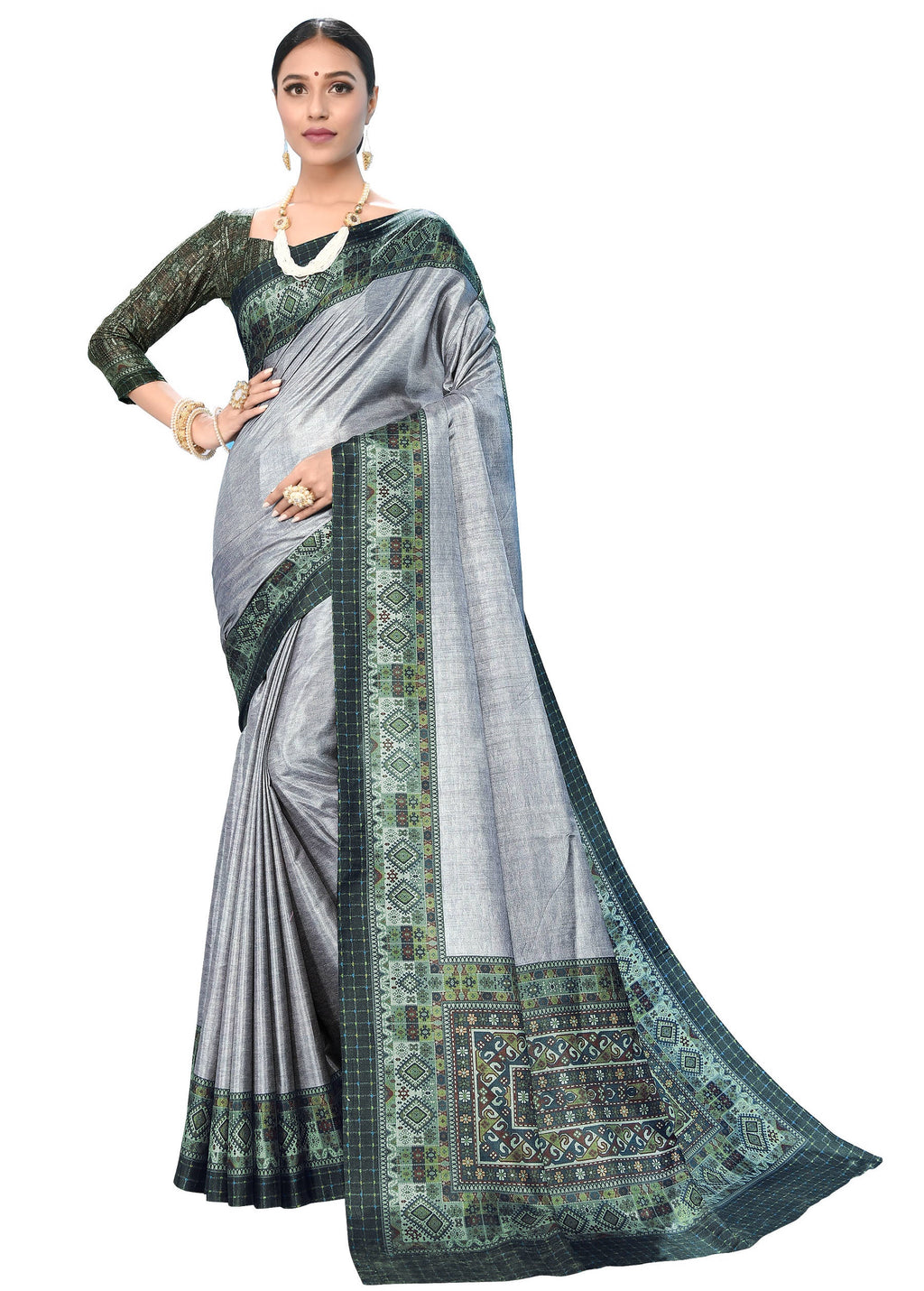 Grey Color Dola Silk  Festive Wear Digital Print Sarees NYF-7750