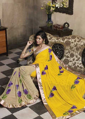 Yellow   Colour  Wrinkle chiffon  Material Designer Sarees : Embroidery Collection -  YF-15038