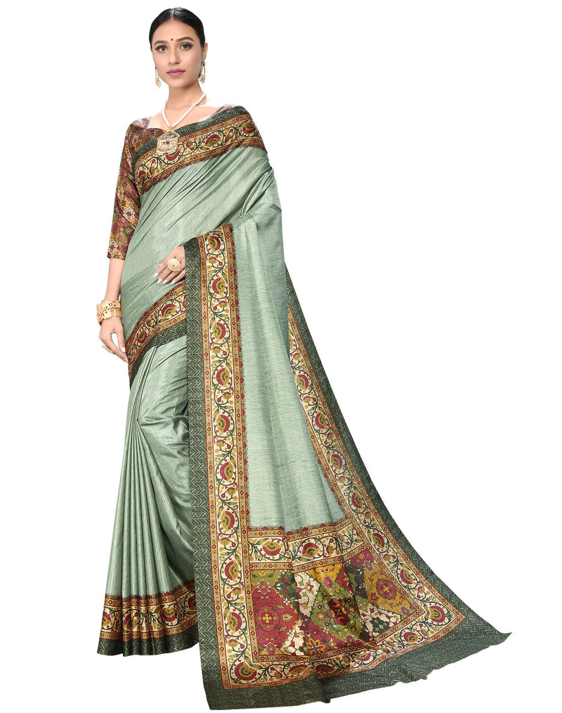 Light Aqua Green Color Dola Silk  Festive Wear Digital Print Sarees NYF-7752