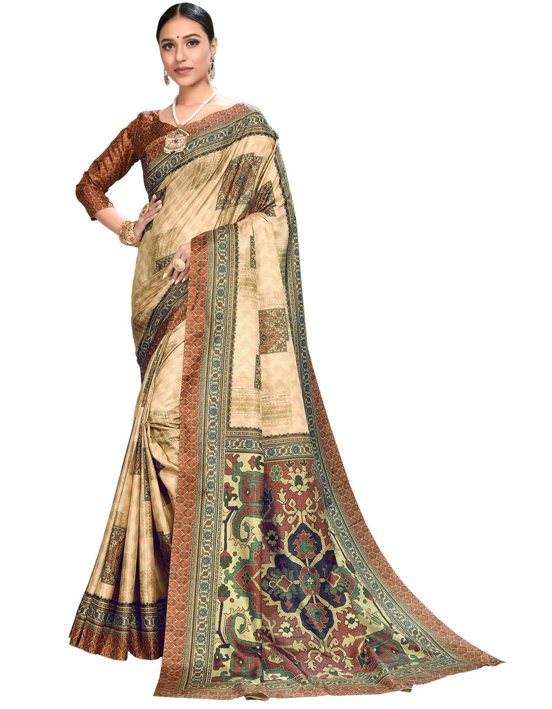Cream Color Dola Silk  Festive Wear Digital Print Sarees NYF-7753
