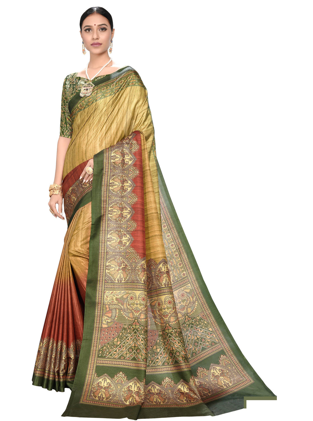 Multi Color Dola Silk  Festive Wear Digital Print Sarees NYF-7754