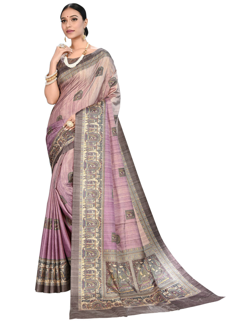 Lavender Color Dola Silk  Festive Wear Digital Print Sarees NYF-7755