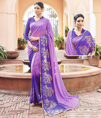 Pink & Purple Color Georgette Casual Party Sarees : Anushna Collection  YF-49432