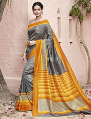 Grey Color Thappa Silk Festival & Function Wear Sarees : Jiyasha Collection  YF-50961