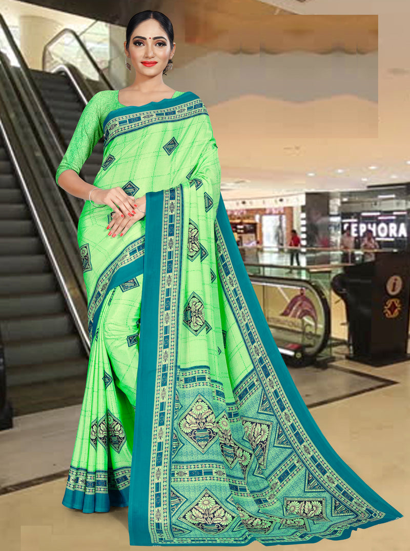 Green Color Crepe Printed Office Wear Sarees NYF-7720