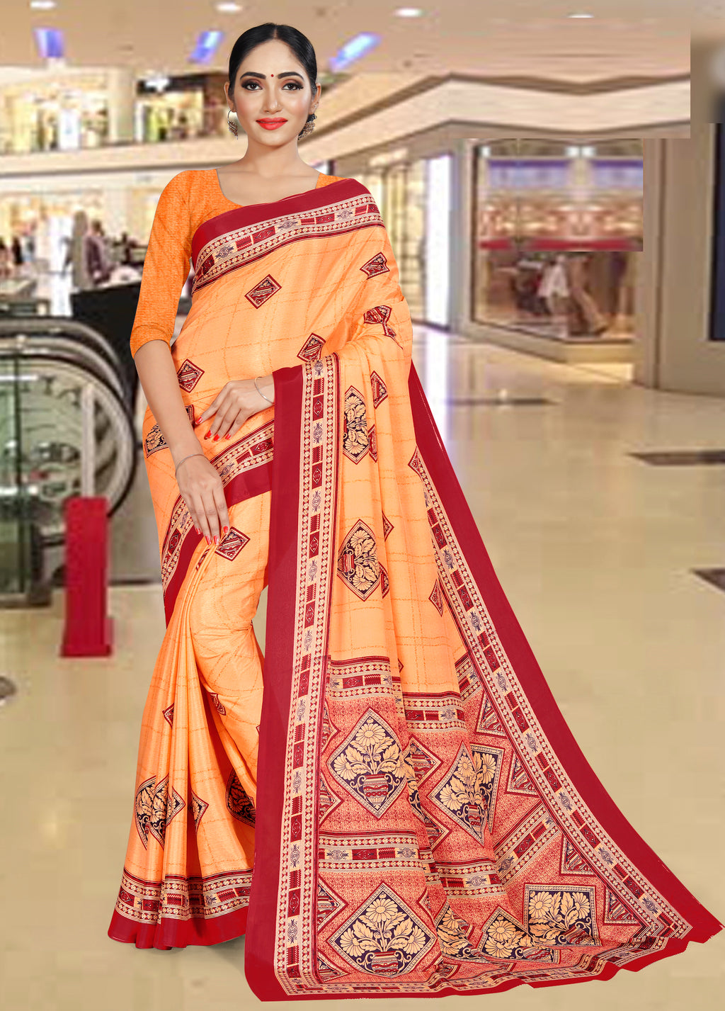Orange Color Crepe Printed Office Wear Sarees NYF-7721