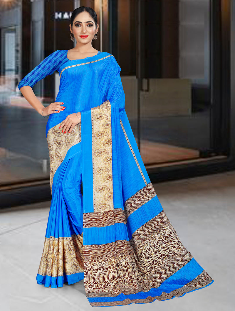 Blue Color Crepe Printed Office Wear Sarees NYF-7723