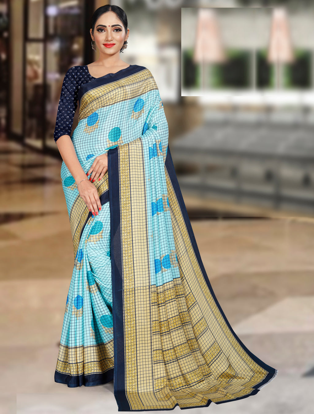 Blue Color Crepe Printed Office Wear Sarees NYF-7724