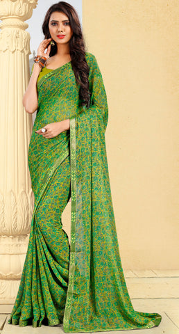 Green Color Georgette Kitty Party Sarees : Pravani Collection YF-70819