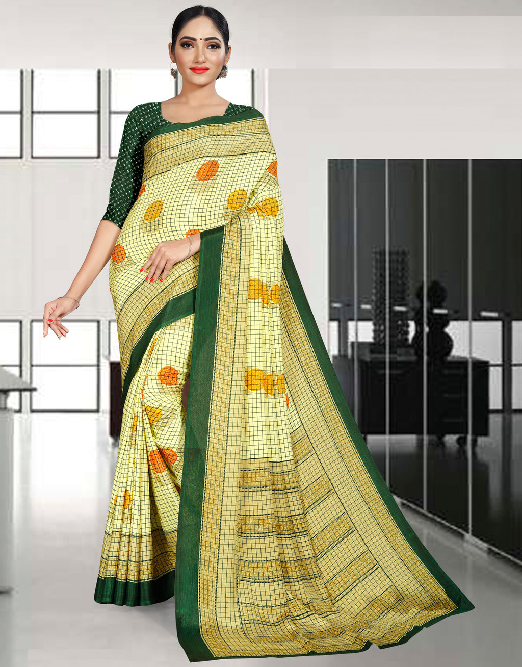 Lemon Yellow Color Crepe Printed Office Wear Sarees NYF-7725