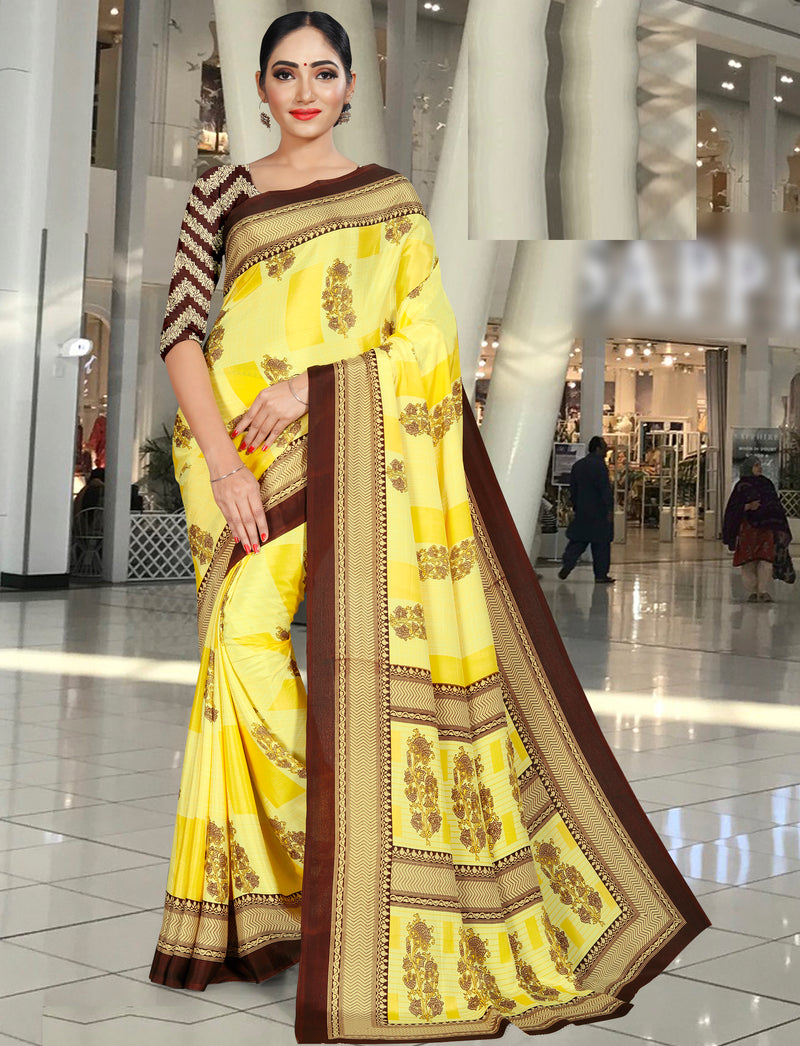 Yellow Color Crepe Printed Office Wear Sarees NYF-7726