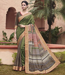 Green Color Bhagalpuri Casual Party Sarees : Mineri Collection  YF-49927