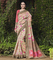 Light Golden & Pink Color Bhagalpuri Casual Party Sarees : Mineri Collection  YF-49928
