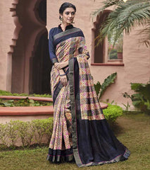 Blue & Pink Color Bhagalpuri Casual Party Sarees : Mineri Collection  YF-49929