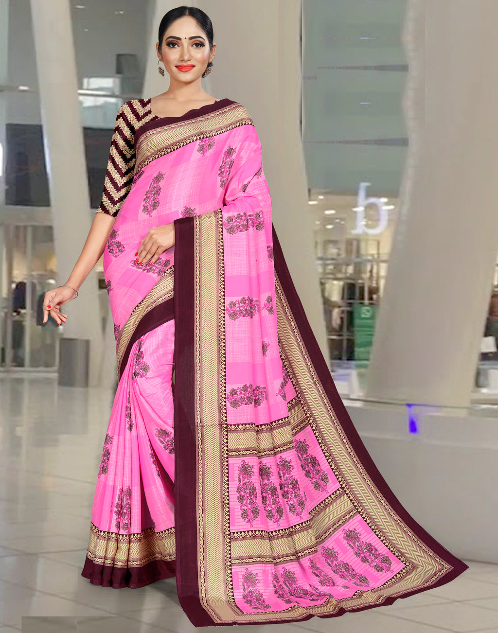Pink Color Crepe Printed Office Wear Sarees NYF-7727