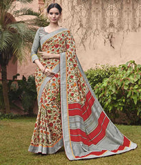 Grey & Red Color Bhagalpuri Casual Party Sarees : Mineri Collection  YF-49932