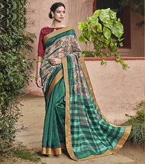 Rama Green Color Bhagalpuri Casual Party Sarees : Mineri Collection  YF-49933