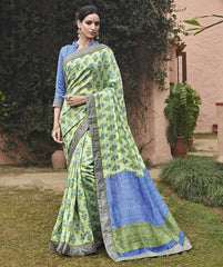 Pastel Green Color Bhagalpuri Casual Party Sarees : Mineri Collection  YF-49935