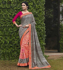 Grey & Pink Color Bhagalpuri Casual Party Sarees : Mineri Collection  YF-49939