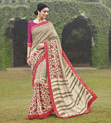 Cream & Pink Color Bhagalpuri Casual Party Sarees : Mineri Collection  YF-49940