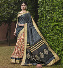 Cream & Grey Color Bhagalpuri Casual Party Sarees : Mineri Collection  YF-49941