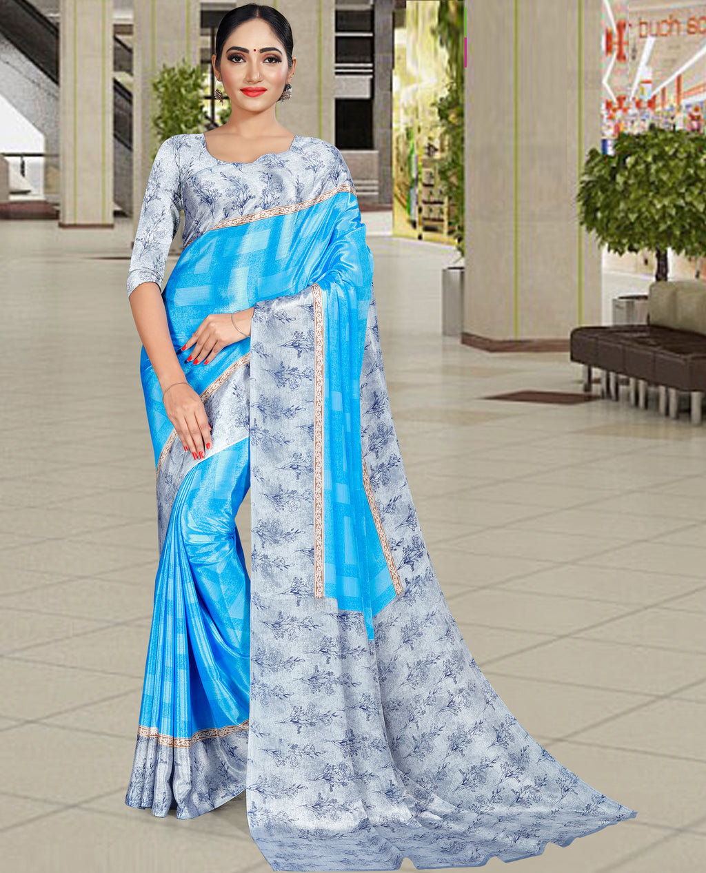 Firozi Color Crepe Printed Office Wear Sarees NYF-7728