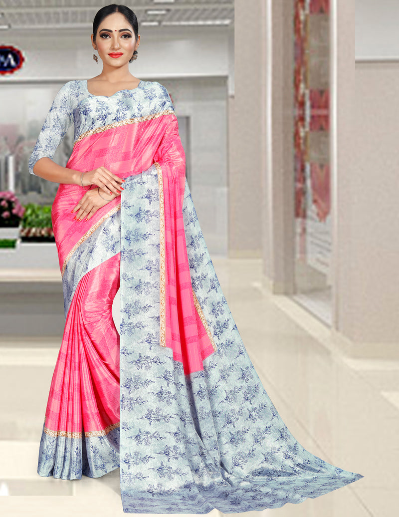 Pink Color Crepe Printed Office Wear Sarees NYF-7729