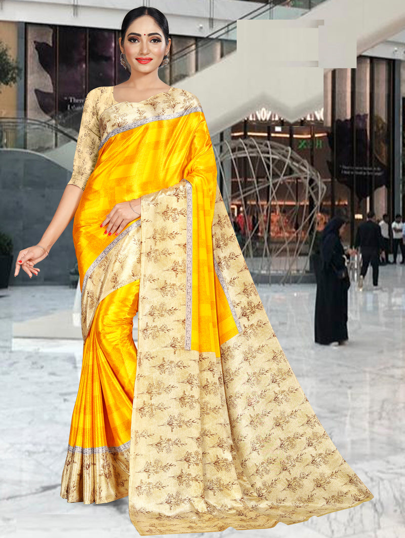 Yellow Color Crepe Printed Office Wear Sarees NYF-7730