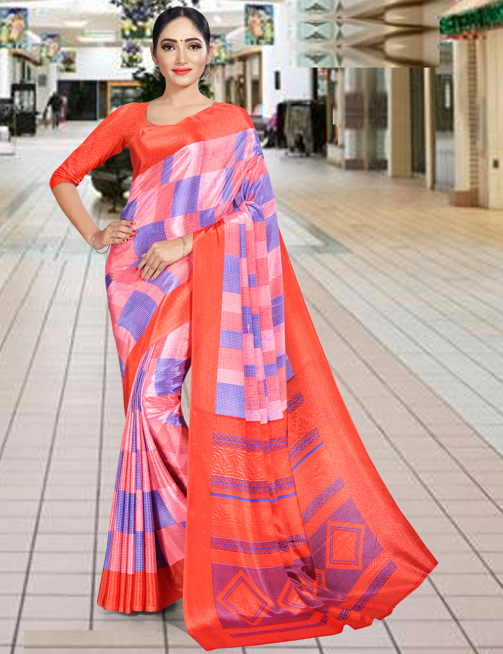 Pink & Blue Color Crepe Printed Office Wear Sarees NYF-7731