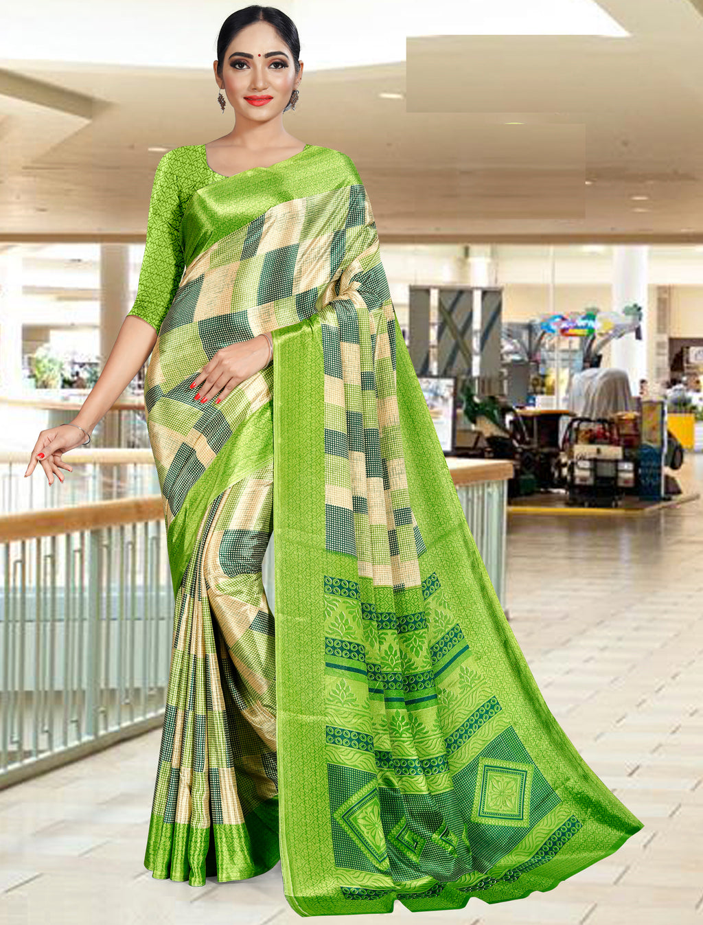 Green Color Crepe Printed Office Wear Sarees NYF-7732