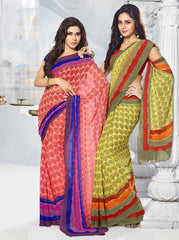 Peach and Blue / Yellow and Mehendi Green Color Georgette Printed Sarees : Jasmine Collection  YF-20905