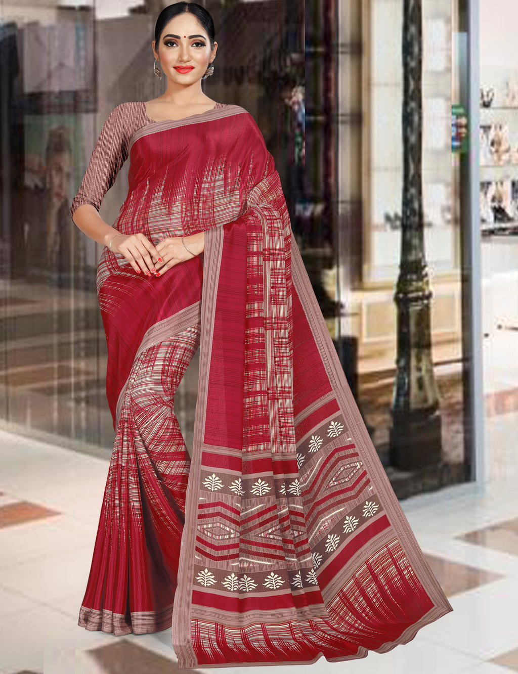 Red Color Crepe Printed Office Wear Sarees NYF-7733