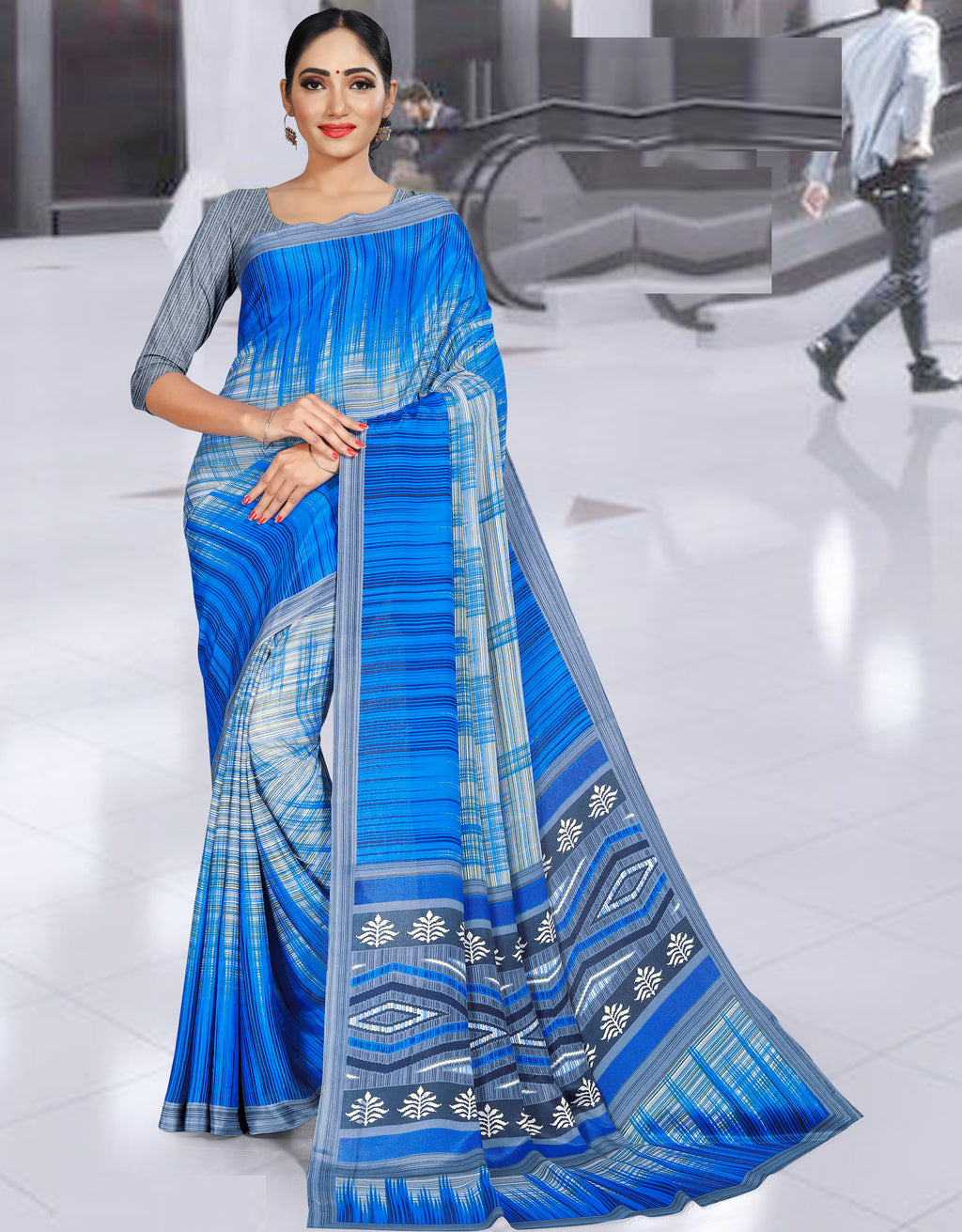 Blue Color Crepe Printed Office Wear Sarees NYF-7734