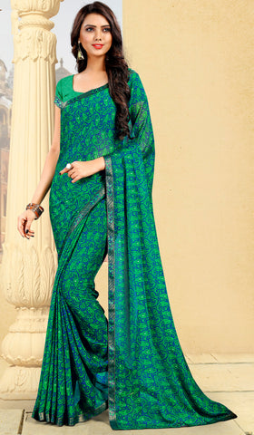 Green & Blue Color Georgette Kitty Party Sarees : Pravani Collection YF-70821