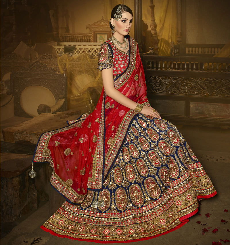 Navy Blue Color Georgette Designer Lehenga For Wedding Functions : Siyansh Collection  NYF-3275 - YellowFashion.in