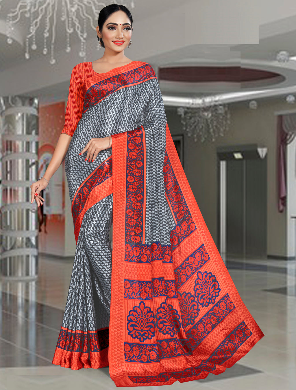 Orange Color Crepe Printed Office Wear Sarees NYF-7735