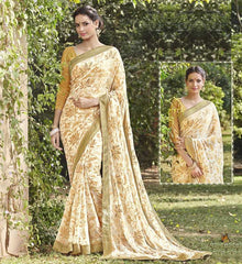 Cream & Golden Color Chiffon Brasso Party Wear Sarees : Deveshi Collection  YF-50149