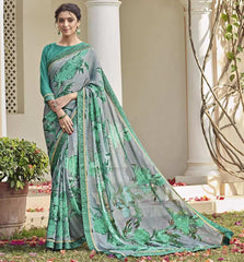 Grey & Green Color Chiffon Brasso Party Wear Sarees : Deveshi Collection  YF-50151