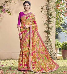 Light Brown & Pink Color Chiffon Brasso Party Wear Sarees : Deveshi Collection  YF-50152
