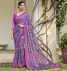 Grey & Purple Color Chiffon Brasso Party Wear Sarees : Deveshi Collection  YF-50153
